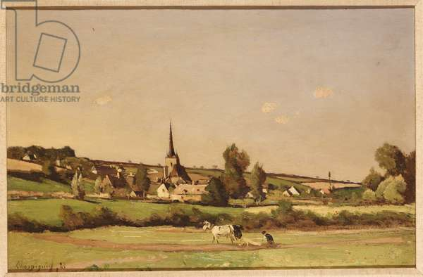 An Extensive Landscape with a Ploughman and a Village beyond (oil on panel)
