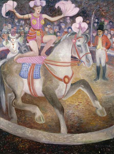 The Circus Act, 1954 (oil on panel)