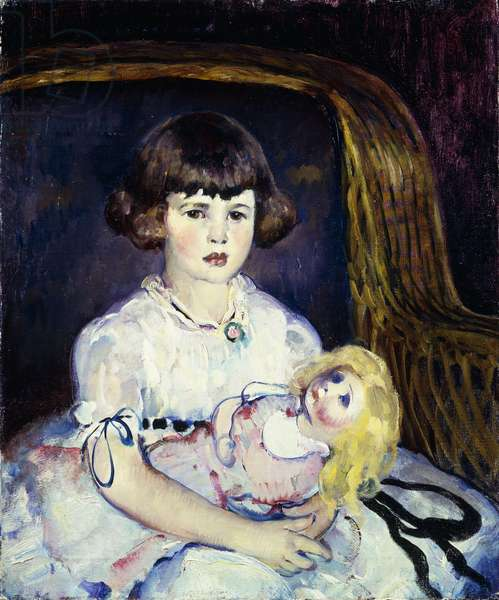 Child with a Doll, (oil on canvas)