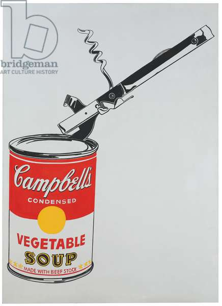 Big Campbell's Soup Can with Opener, 1962 (casein & graphite on linen)
