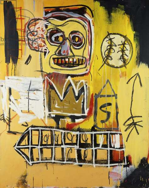 Untitled (Orange Sports Figure), 1982 (acrylic, oilstick and spray paint on canvas)