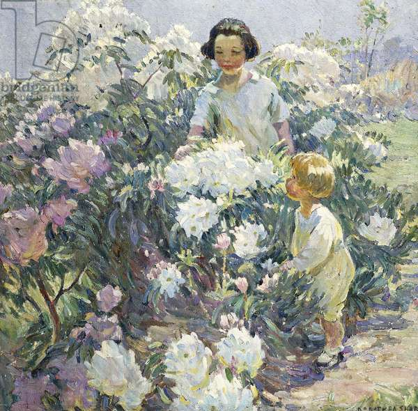 In the Garden, (oil on canvas)