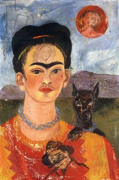 Self-portrait with Diego on my Chest; Autoretrato con Diego en mi Pecho, c.1953-54 (oil on masonite)