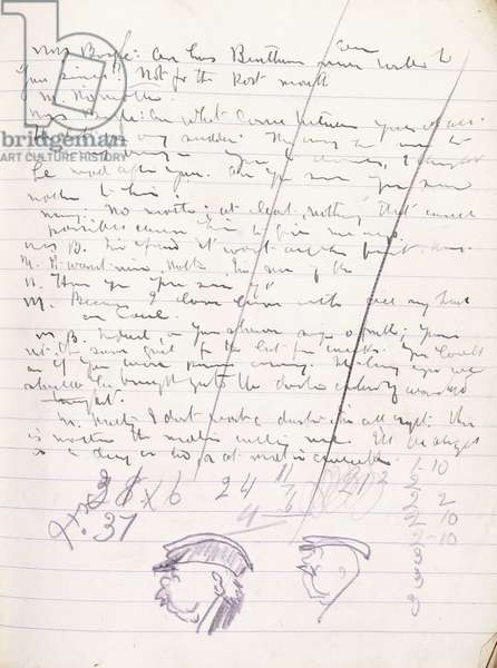 Page from an autographed manuscript of 'Juno and the Paycock', with two small pencil sketches of Captain Boyle's Head, in profile, 1923 (manuscript in ink with pencil notations)