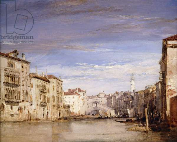 A View of the Grand Canal Venice, from the Palazzo Bernardo Looking Towards the Rialto Bridge, (oil on millboard)