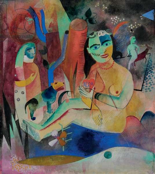 Seated Nude - Dedicated to Adda; Sitzender Akt - Adda Gewidmet, 1919 (gouache, w/c & brush and India ink on paper)