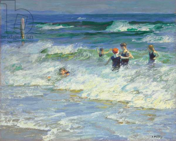 Playing in the Surf  (oil on canvas)