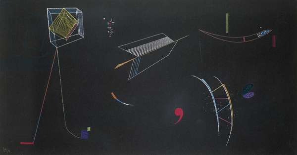 Lines, 1939 (gouache on black paper laid down on board)