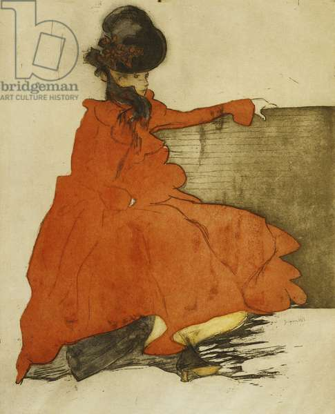 The Woman in Red (On Bench); La Femme en Rouge (Sur un Banc), 1900 (etching with aquatint printed in colours on cream Japan)