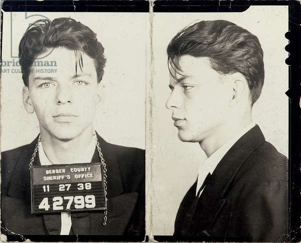 Original mugshot of Frank Sinatra, 1938 (b/w photo)