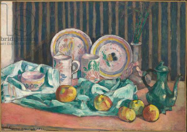 Still life with apples and fruit dishes, c.1906 (oil on board laid down on panel)