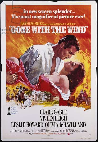 Poster for the film 'Gone With The Wind', re-release 1974 (colour litho); original release 1939