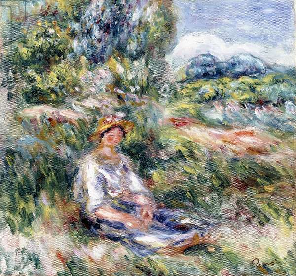 Young Woman Sitting in a Meadow,  (oil on canvas)