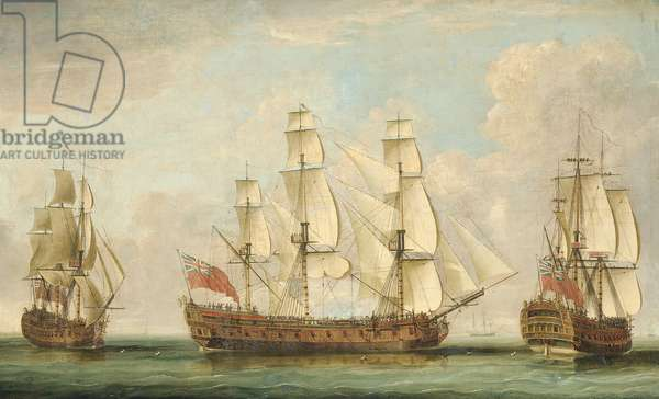 The Honourable [East India] Company's ship Bessborough in three positions in the Channel with her decks crowded with people (oil on canvas)