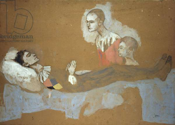 Death of the Harlequin; La Mort d'Arlequin, 1906 (gouache and pencil on board)