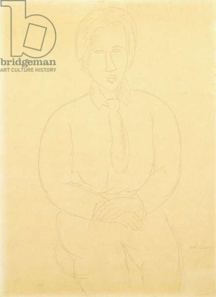 Portrait of Soutine Sitting, 1917 (pencil on paper on board)