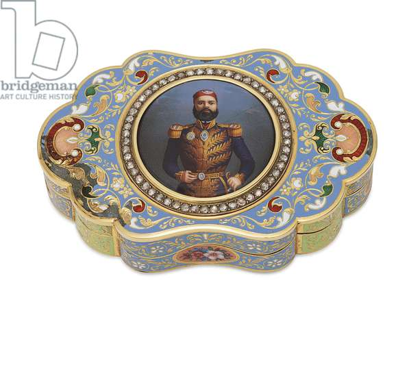 Gold Box with Enamelled Portrait of Viceroy Abbas I of Egypt, c.1820 (gold, enamel & diamonds)