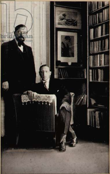 Portrait of Igor Stravinsky and Claude Debussy at the time of the Diaghilev Ballets 'Jeux' and 'The Rite of Spring', Paris, 1912-13 (gelatin silver print with applied hand work)