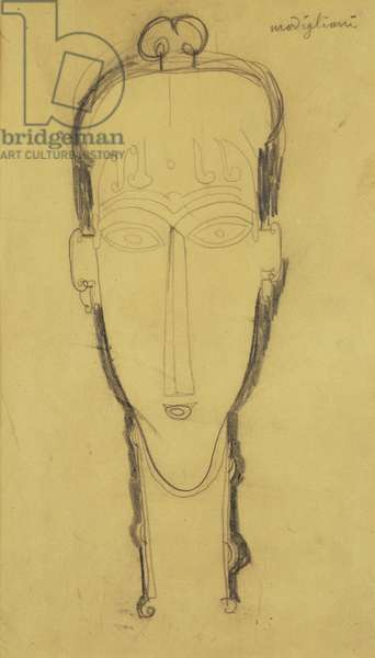 Head of a Caryatid in a Head Dress, 1911 (graphite on buff paper)