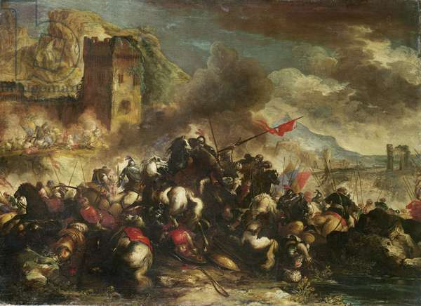 Cavalry skirmishes between Crusaders and Turks (one of a pair)