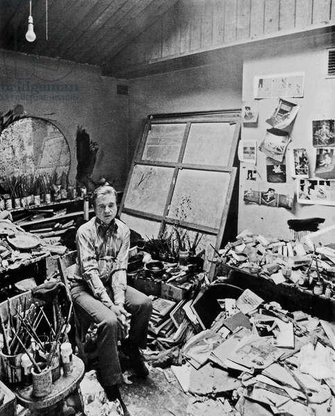Francis Bacon in his 7 Reece Mews Studio, 1974 (b/w photo)