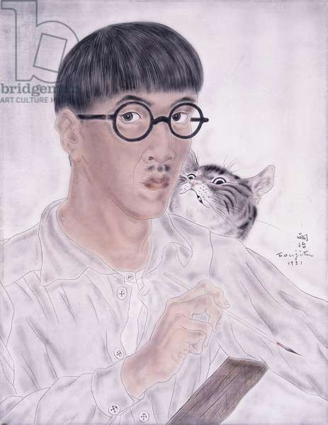 Self-Portrait with Cat, 1931 (oil on silk laid down on board)