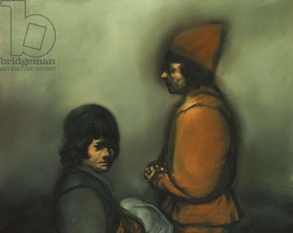 Alfredo de la Carpa (Two Figures) (acrylic on canvas)