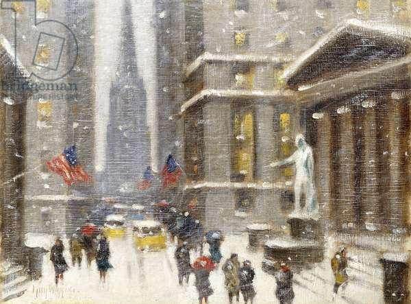 Wall Street in Winter,  (oil on canvasboard)