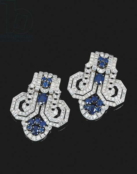 Pair of Art Deco clip brooches, c.1930 (diamonds & sapphires)