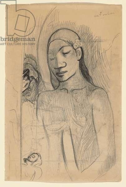 Tahitian Figure, c.1895-96 (black chalk & pencil on paper)