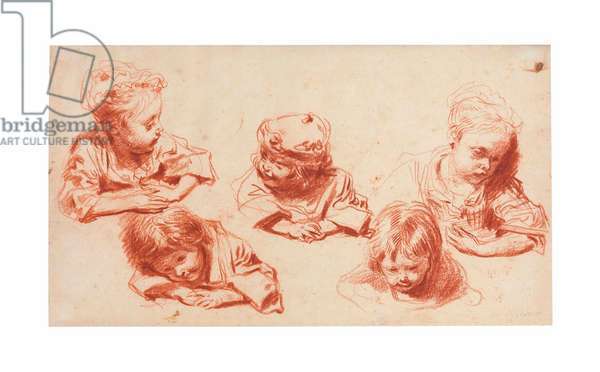 Five studies of children (red chalk on paper)