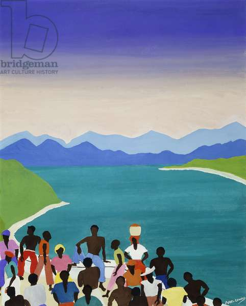 People before a Coastal Inlet, Jamaica, (gouache and oil on canvas)