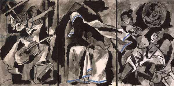 Mother Teresa, 1997 (acrylic on canvas, triptych)