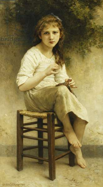Idle Thoughts (Little Girl Sitting Embroidering); Vaines Pensees (Petite Fille Assise Brodant), 1903 (oil on canvas)