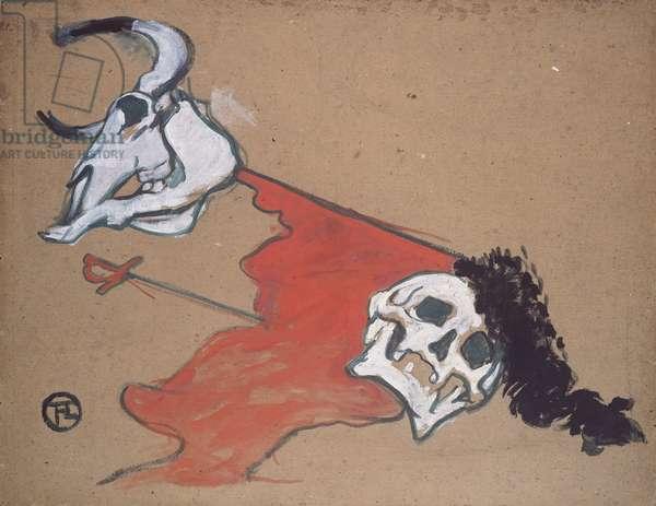 Bullfighting (oil on paper)
