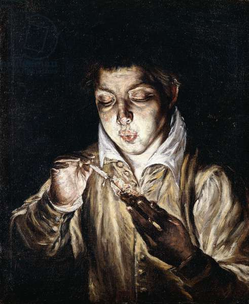 A Boy lighting a Candle,  (oil on canvas)