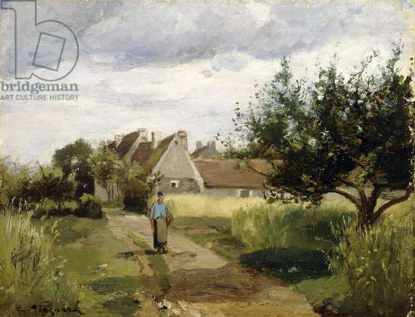 Entrance of a Village, c.1863 (oil on canvas)