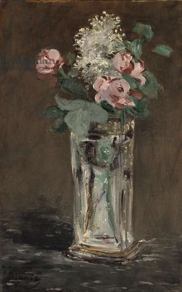 Flowers in a Crystal Vase (oil on canvas)