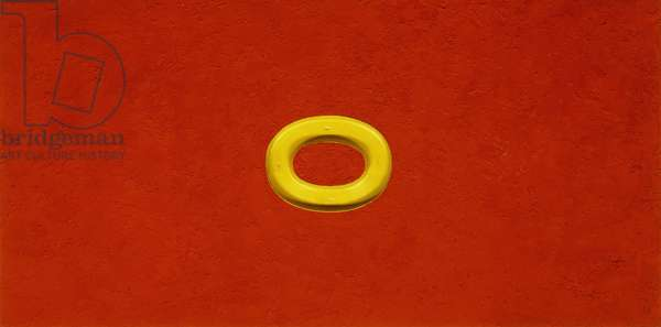 Untitled, 1962 (oil on liquitex and sand on masonite and yellow plexiglas)