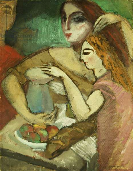 Three Women, 1910 (watercolour and gouache on paper laid down on board)
