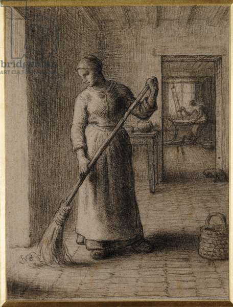 Woman Sweeping her Home (black chalk on paper)