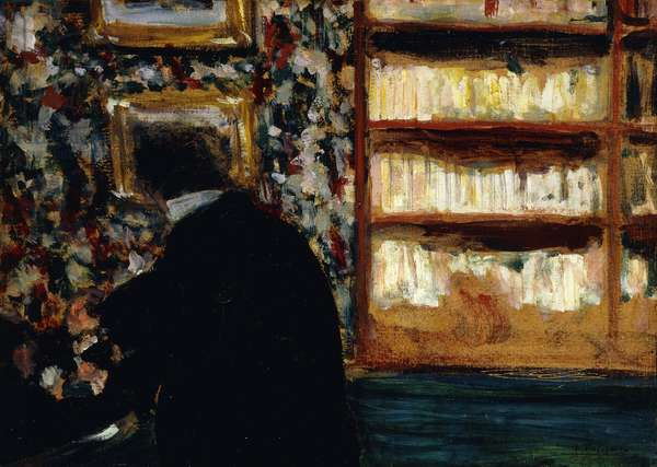 Monsieur Natanson in the Library (Natansan in his office at the White Review); Monsieur Natanson dans sa Bibliotheque (Natanson dans son Bureau a La Revue Blanche), c.1898 (oil on board laid on panel)