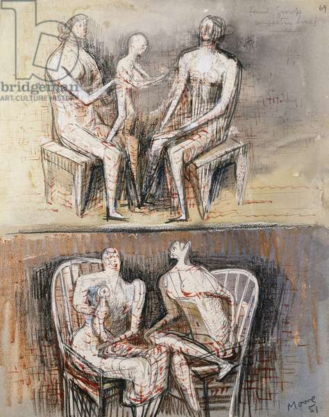 Family Group in Section Lines, 1951 (watercolour, wax and black crayon, pencil, brush and red ink hei)