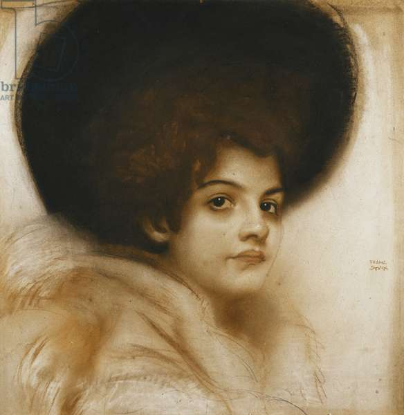 Portrait of a Lady with a Hat, (pastel)