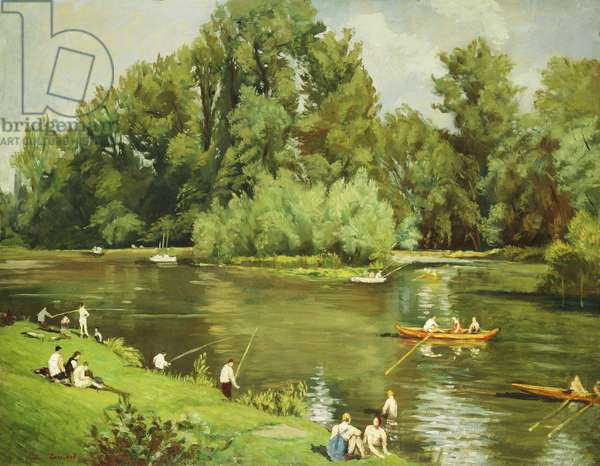 Edge of the Marne, c.1932 (oil on panel)