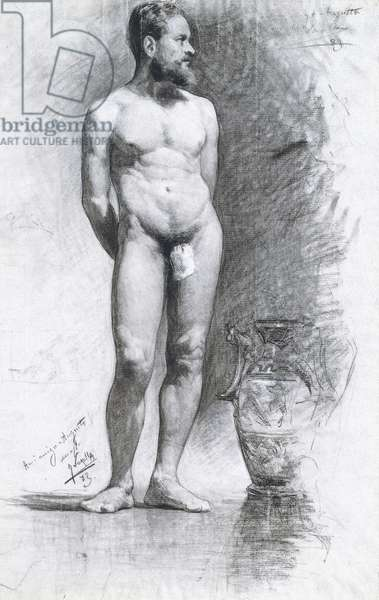 Academic Male Nude with a Grecian Urn, 1883 (charcoal on paper)
