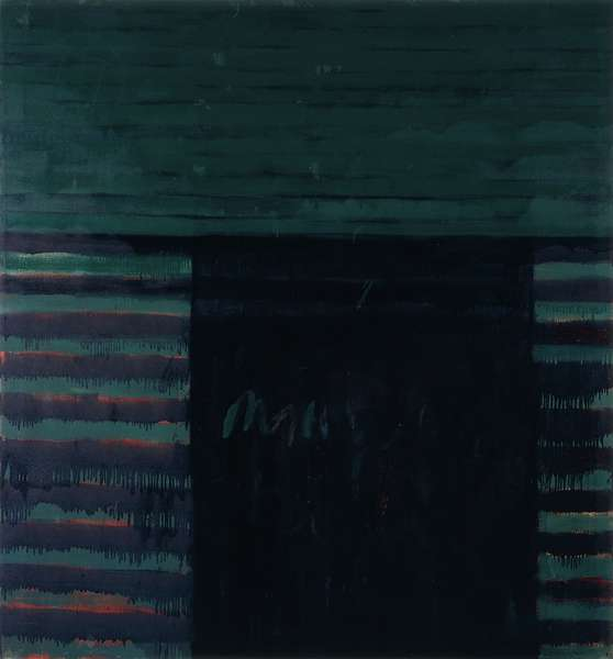 Mary Lou Loves Frank, 1958 (oil and resin on canvas)