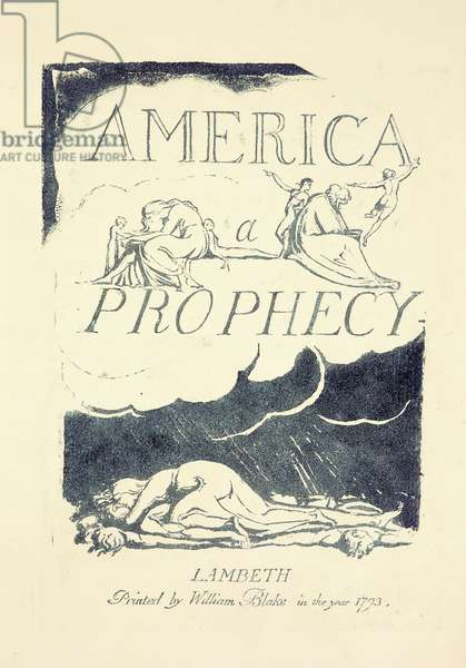 Title page from 'America, A Prophesy', mid 1790s (relief-etched engraving, blue ink)