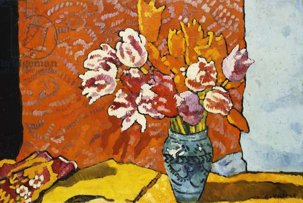 Blue Vase, Tulips and Drapery; Vase Bleu, Tulipes et Draperie, 1938 (oil on canvas)