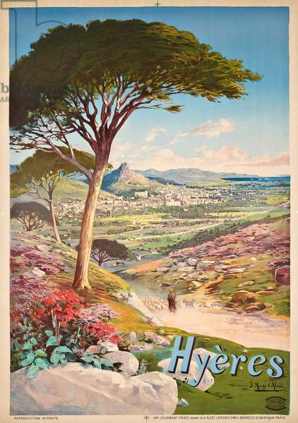Poster advertising Hyeres, France, 1900 (colour lithograph)